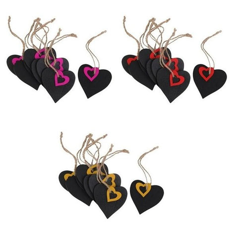 10pcs Mini Heart Shape Hanging Wooden Blackboard Gift tags