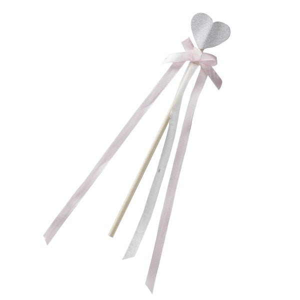 Kids Princess Glitter Silver and Pink Heart Wand