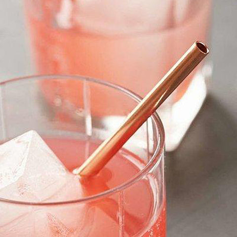 Rose Gold Metallic Paper Straws