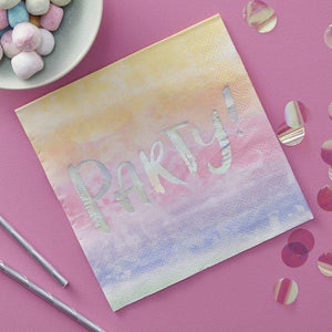 Rainbow & Iridescent PARTY Paper Napkins
