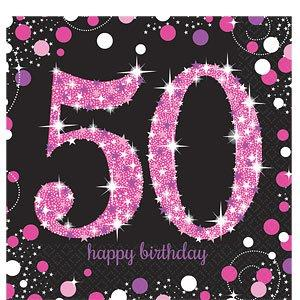 Pink Sparkling Celebration AGE Party Napkins