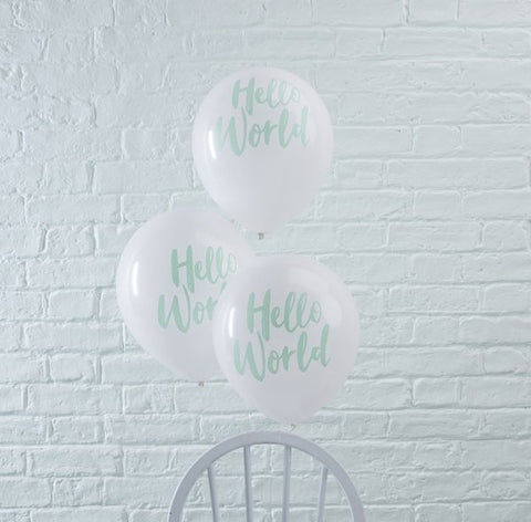 Mint Hello World Balloons - Hello World