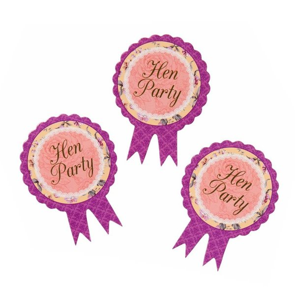 Pink Purple Hens Party Rosette Badges