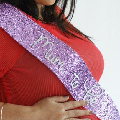 Mum to be - PURPLE Glitter Sash