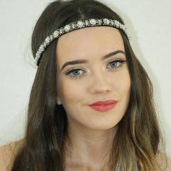 Black, white and grey pearl headband with Veil