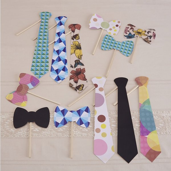 Photo Booth Props - 12pk Quirky Ties and Bowties