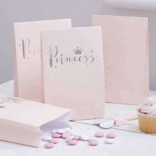 Princess Party Bags - Pink with silver foil