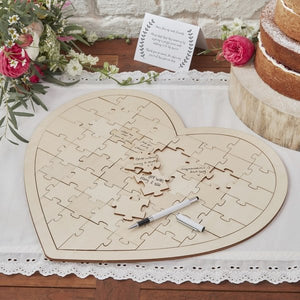 Heart Shaped Jigsaw Guest Book