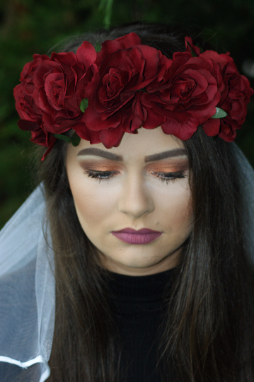 Bride to be Floral Crown and Veil - Luxury Christmas red crown