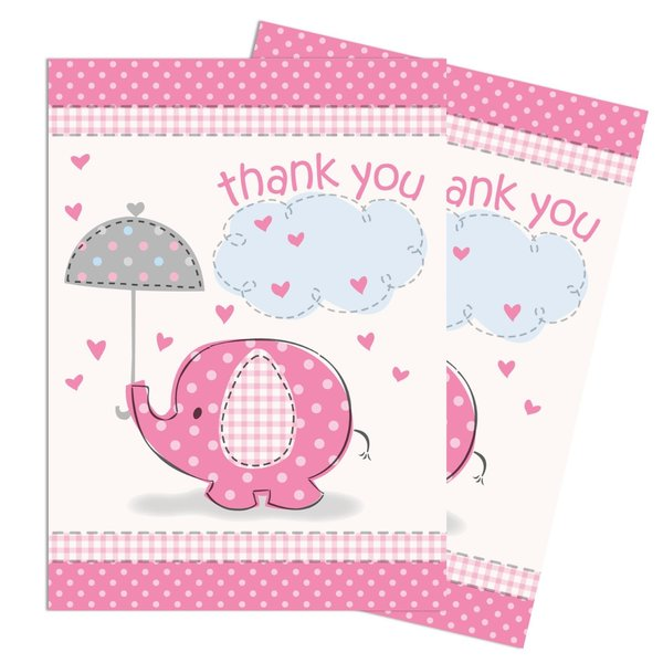 Umbrellaphants Pink Party Thank You Cards 8pk