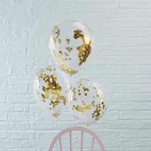 Gold Confetti Filled Balloons - Pick & Mix