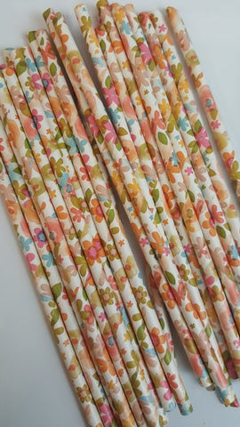 Floral Straws - various colours