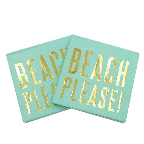20pk Beverage Gold Foil Beach Please Napkins