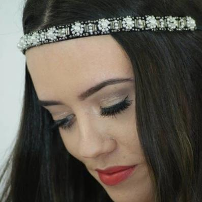 Black, white and grey pearl headband