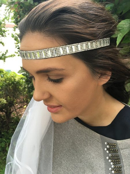 Silver sparkle diva headband with Veil