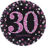30th Birthday Pink Celebration Party Plates