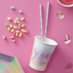 Rainbow & Iridescent YAY Paper Cups - Iridescent Party