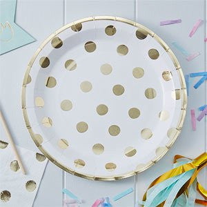 Metallic Polka Dot Party Plates - Mix & Match