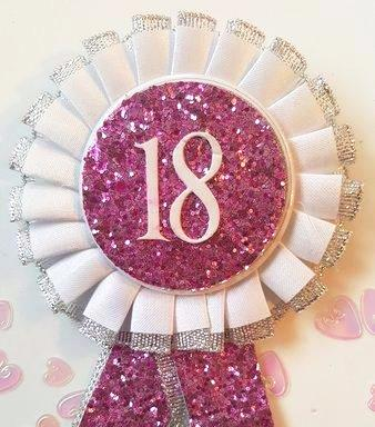 Birthday Rosette Fuschia PINK 18th