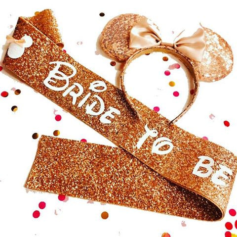 Disney Bride to be Glitter Sash - Rose Gold