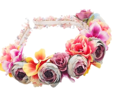 Vibrant multi colour flower hairband