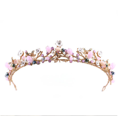 Pink Flower Pearl Tiara Hair Accessory