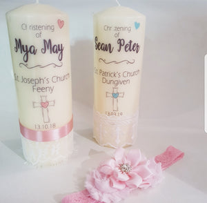 Personalised lace baby boys christening candle