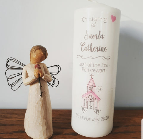 Personalised baby christening candle