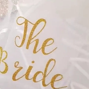 "Gold sparkle glitter ""The Bride"" veil"