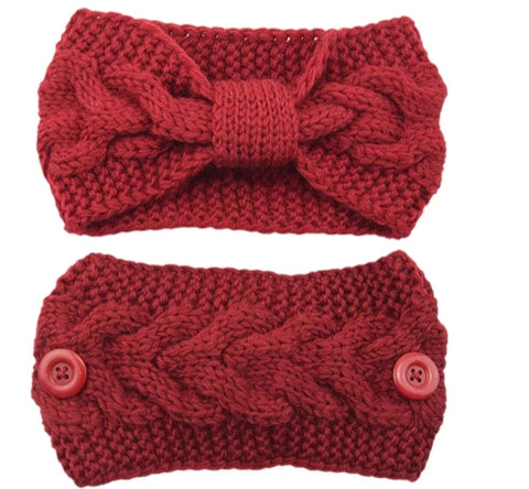 Red Ear Warmer - Winter Knit Headband