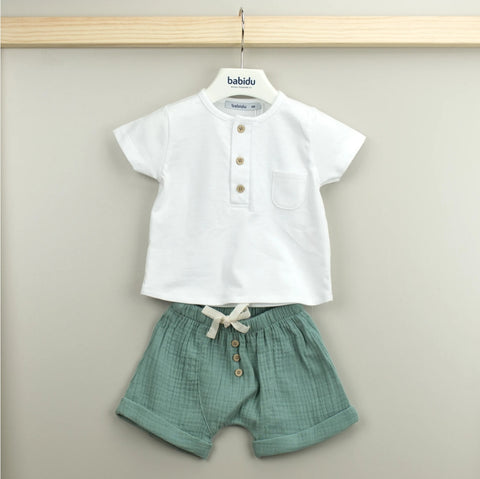 ELLA Cotton white & green 2 piece