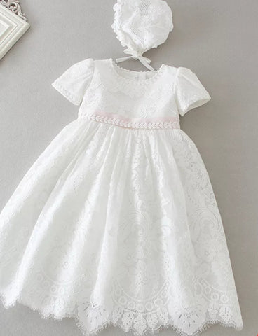 Pink trim lace christening dress