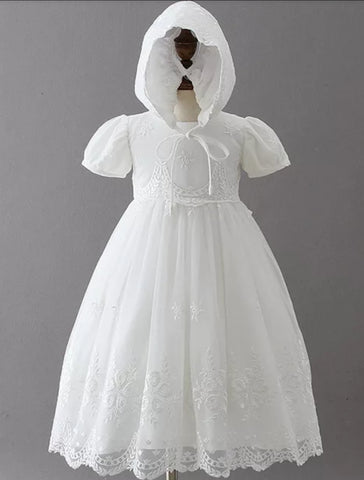 Lace trim christening dress