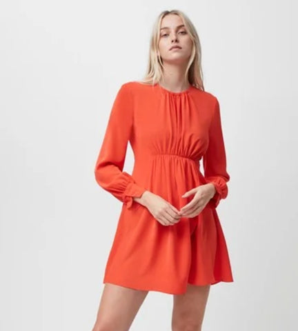 EMMY CREPE LONG SLEEVE DRESS  - firey red
