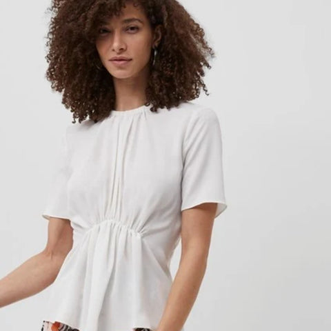 EMMY CREPE GATHERED TOP  - white