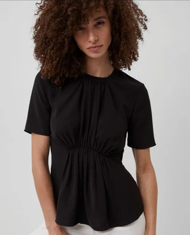 EMMY CREPE GATHERED TOP  - black