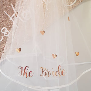 "Rose Gold shimmer ""The Bride"" love veil"