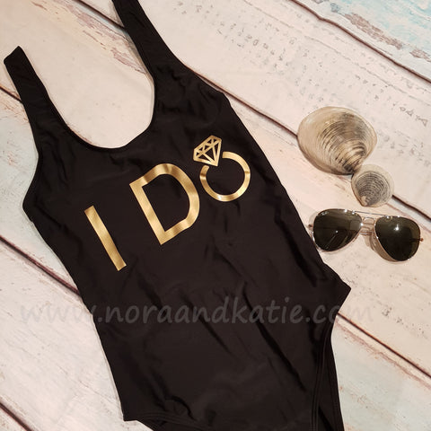 "Black and Gold ""I Do"" All in one swimsuit"