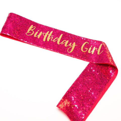 Pink Sequin Birthday Girl Sash - Little Stars Party