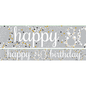 80th Birthday Paper Banners 1 design 1m each - 3 pack