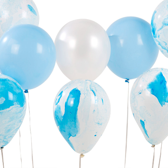 Blue Marble Effect Balloons - 12 Assorted