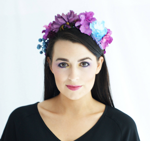 Purple and Blue Floral Crown