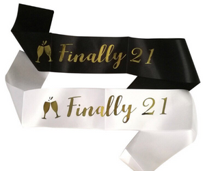 21st Birthday Girl White Satin Sash