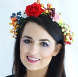 Festival Red, Orange and Blue Floral Crown Headpiece