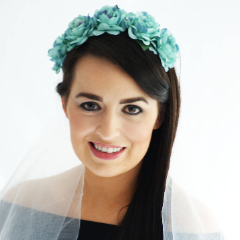 Teal Floral Crown and Veil