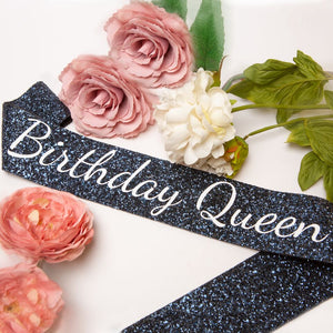 Navy Birthday Queen Sash - Adult Birthday Party