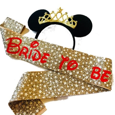Disney Inspired Bride to be Glitter Sash, Ears & Veil - Gold Stars