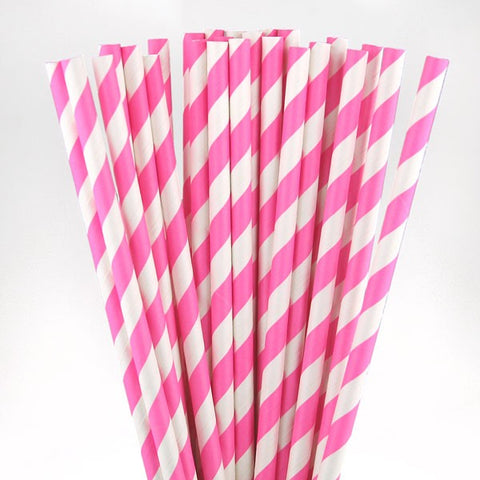 Hot Pink Striped straws