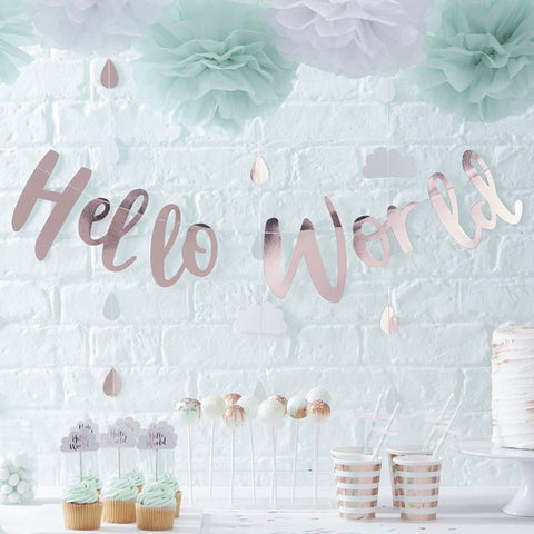 Rose Gold Baby Shower Bunting - Rose Gold Hello World Bunting