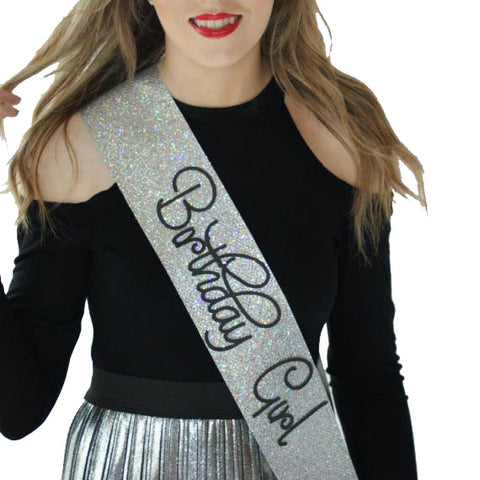 Adult Birthday  Sash - SILVER Glitter